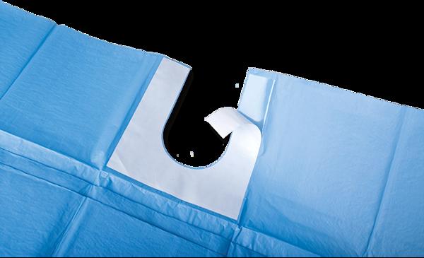 Immagine di Telo Sterile / Scollo adesivo a U - 75x100 cm - 100 pz